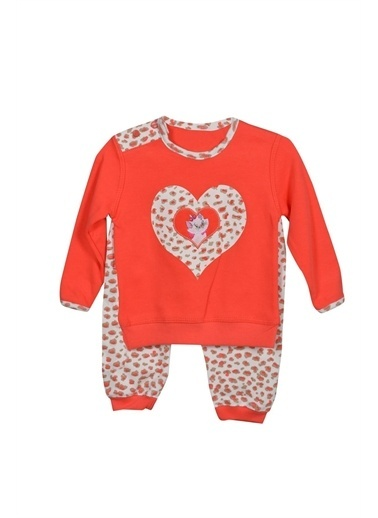 Sema Bebe Yuvam Kalp Baskılı Kız Bebek Giyim Kırmızı